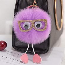 Moda Glasse Bonito Animal Fluffy Pele Borla Chaveiro Pompom Bola de Pelúcia Saco Cadeia Chave Do Carro Pingente Carro Acessórios Presentes Chaveiros(China)