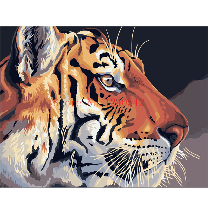 Diy digital oil painting diy frameless oil painting tiger paint by number kits unique gift for child(China (Mainland))