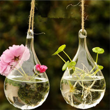 1X New Creative Hanging Glass Vase, Transparent Air Plant Hanging Glass Vases. Flower Containers 6cm*16cm Clear Vase(China (Mainland))