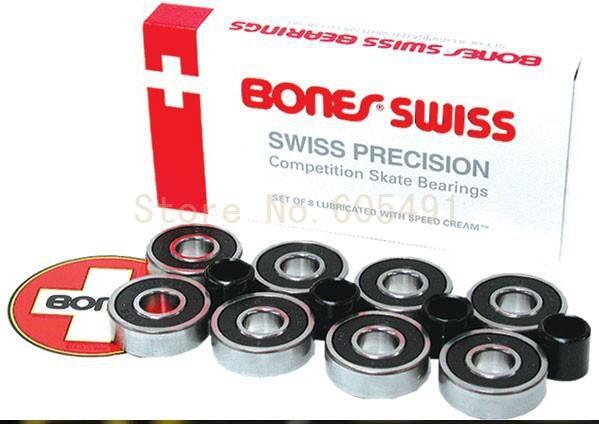 Only Today Free Shipping!Bones Swiss 8pcs bearings+4 spacers/set White box Red Bones Bearing 608 Switzerland Skateboard bearing(China (Mainland))