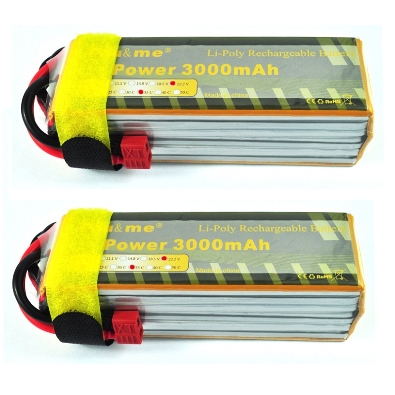 2pcs/lot You&amp;me 22.2V 3000MAH 35C MAX 55C AKKU LiPo RC Battery For Trex 500 Helicopter 6S<br><br>Aliexpress