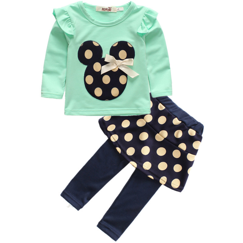 brand new 2016 children clothing set baby Kids Girls Minnie Mouse clothes set T-shirt Top Pants 2pcs suits Outfits