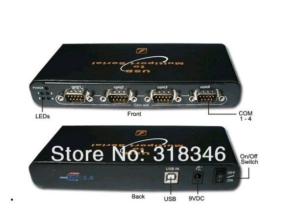 Free shipping 4 Port USB 2.0 To RS 232 RS232 RS-232 Serial Converter Adapter Hub with retail pacakge(China (Mainland))