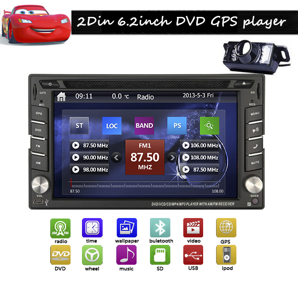 New Arrival 2 DIN In-Dash Car unit GPS navigation Car DVD Video Player USB/SD 6.2inch Car PC Stereo Audio Free Rear Camera+ Map(China (Mainland))