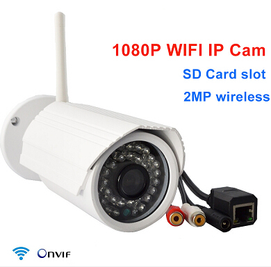 P2P Onvif IP camera 1080p 2mp wireless security ip cam sd card slot wifi megapixel outdoor waterproof IR HD home ipc CCTV camera(China (Mainland))