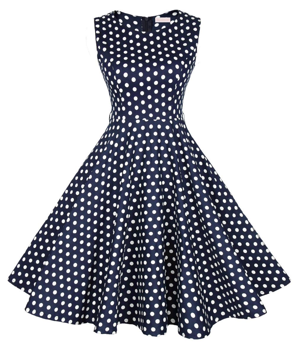 Women Sleeveless Knee Length Classic Polka Dots Dress Round Neck Casual Plain Office Lady Vintage Dress(China (Mainland))