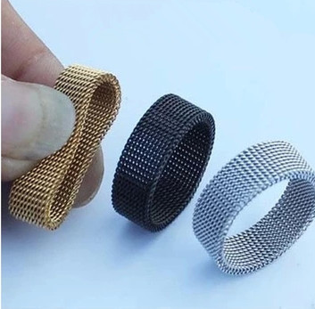 Free shipping 316L stainless steel wide 8MM black mesh rings retro punk gothic jewelry gift Silver Black Gold Ring fine jewelry(China (Mainland))