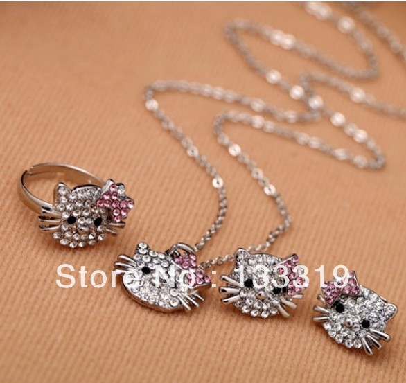 Fashion New style Super cute full crystal hello kitty ring, earring ear stud necklace set girls jewelry set wholesale(China (Mainland))