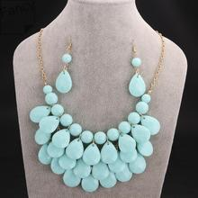 Sets Newest Beads Trendy Earrings and Necklace Sets For  Women Jewelry Suitable  In Autumn & Winter Wear kdjf LFSS001-C(China (Mainland))