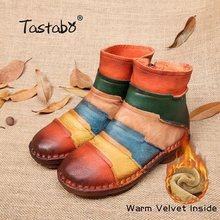 Tastabo Martin Çizmeler Hakiki Deri Ayak Bileği Ayakkabı Bağbozumu rahat ayakkabılar Marka Tasarım Retro El Yapımı Artı Boyutu Kadın Botları(China)
