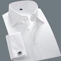 Марка белый Camisa Masculina рубашки с длинным рукавом мужчины 2015 классическая уменьшают подходящие французские рубашка с запонками свадебное платье