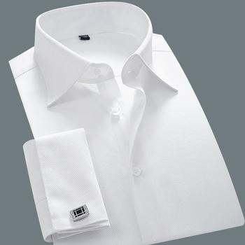 Brand White Camisa Masculina Long Sleeve Shirts Men 2015 Classical Slim Fit French Cuff Dress Shirt With Cufflinks Wedding Dress