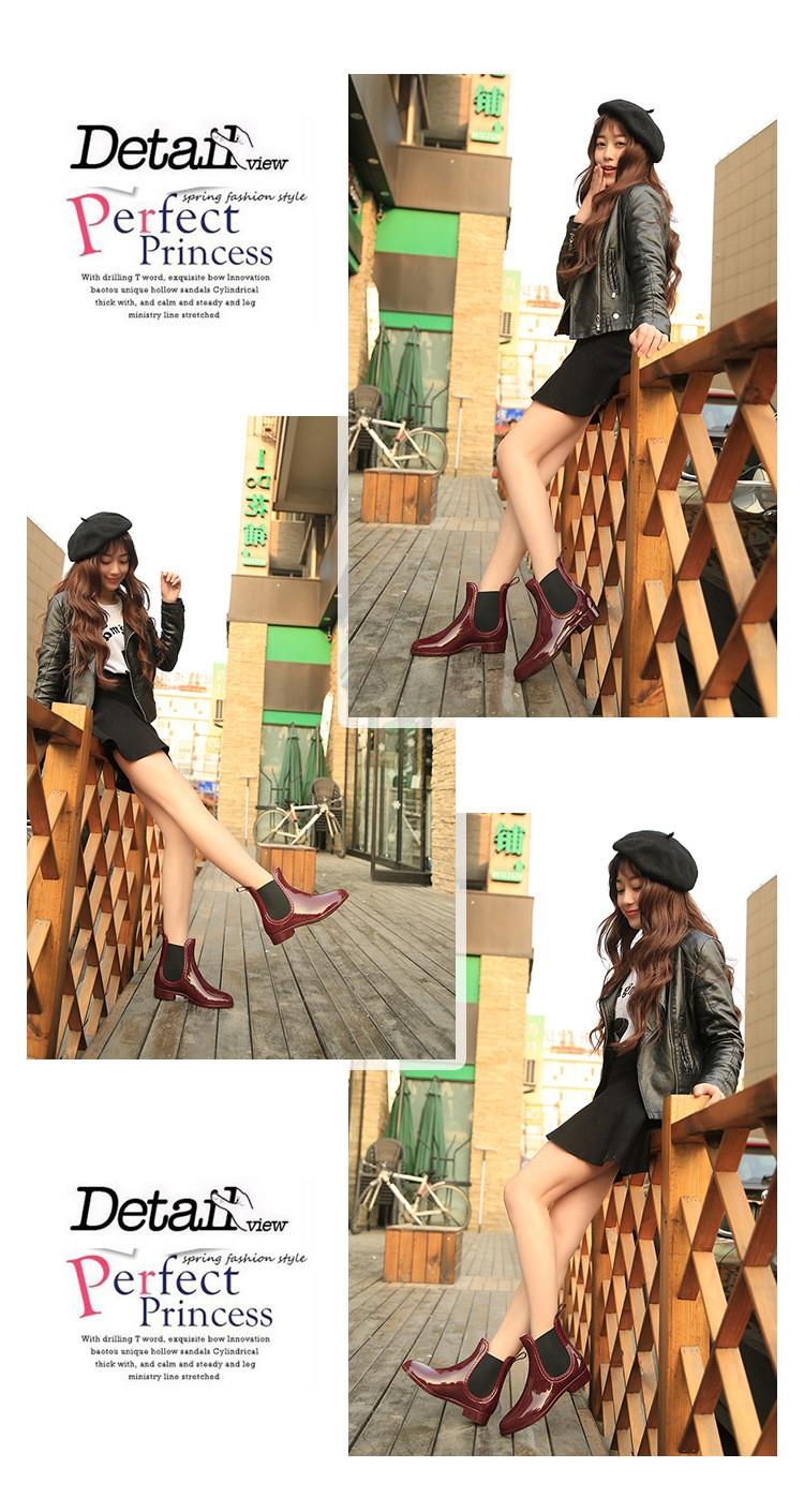 ซื้อ ที่มีคุณภาพสูงรองเท้าฝน2016กันน้ำแฟชั่นผู้หญิงข้อเท้าบูตยางวงยืดหยุ่นสีทึบRaindayผู้หญิงรองเท้า
