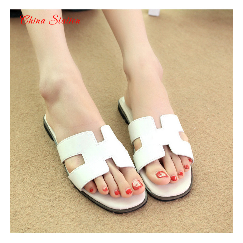 2016 Summer Women's Fashion Magazine Hot-Selling Flat Sandals H Type Women's Slippers Shoes 3 Colors Size CN: 35-39(China (Mainland))