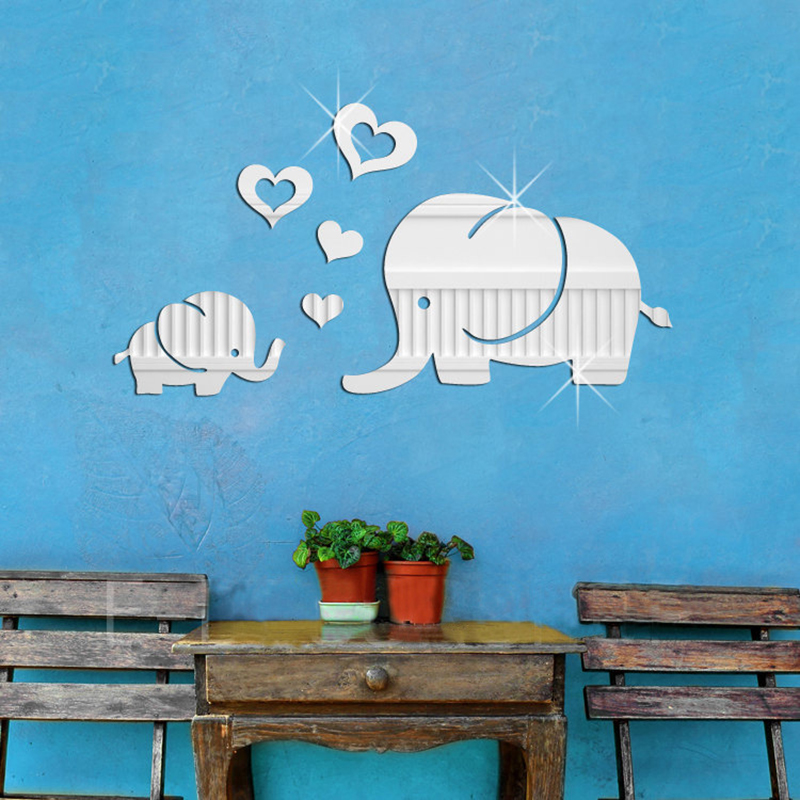 Removable Waterproof Acrylic Love Heart Baby Elephant Mirro Surface Wall Sticker Bedroom Home Decoration Living Room Ornament(China (Mainland))