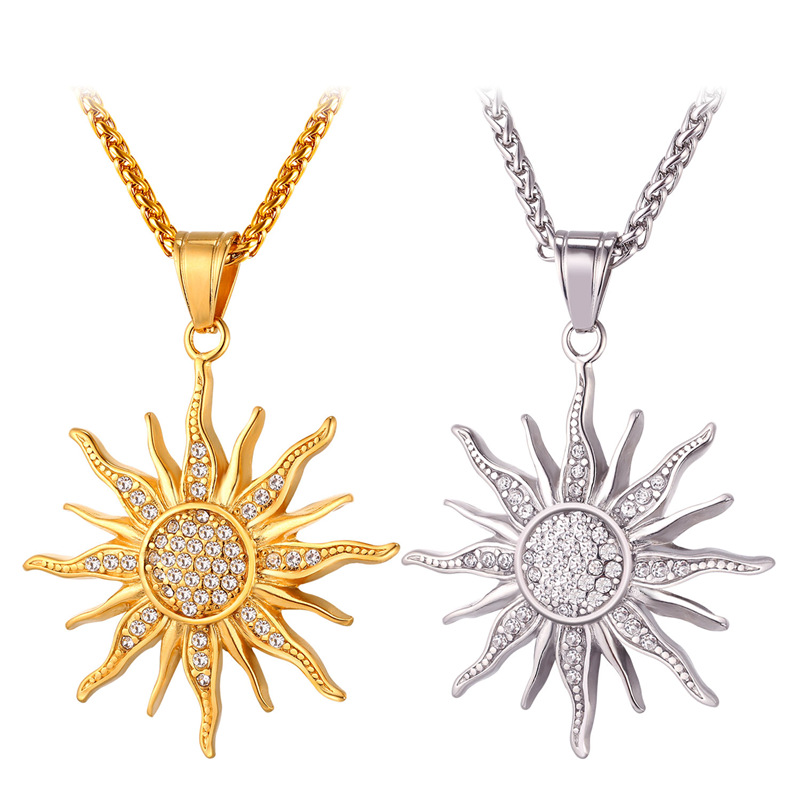 New Sun Flower Necklace Pendant Rhinestone Charming Stainless Steel/Gold Plated Rope Chain For Women Party Chic Jewelry GP2434(China (Mainland))