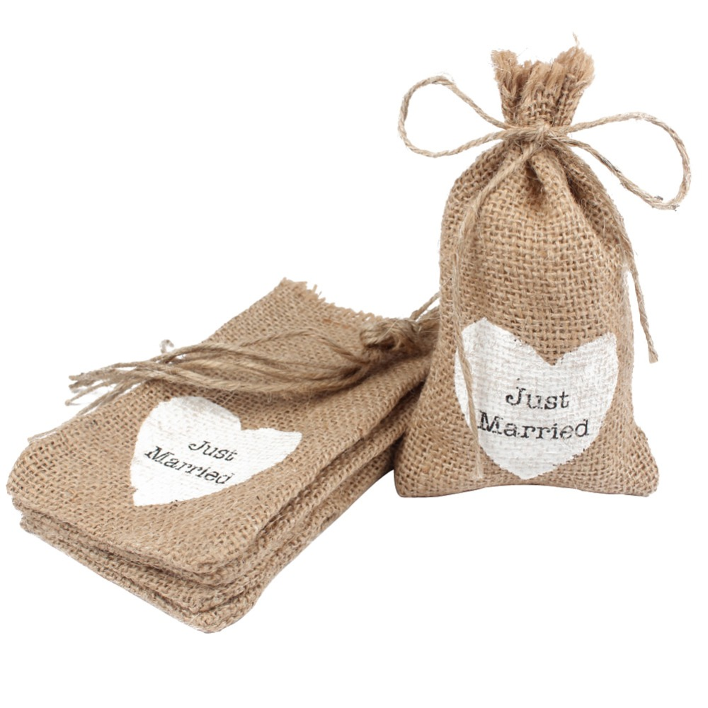 50pcs Burlap Pouch Jute Hessian Candy Box Gift Bag White Love Heart Vintage Wedding Decoration Event Party Supplies Wholesale(China (Mainland))