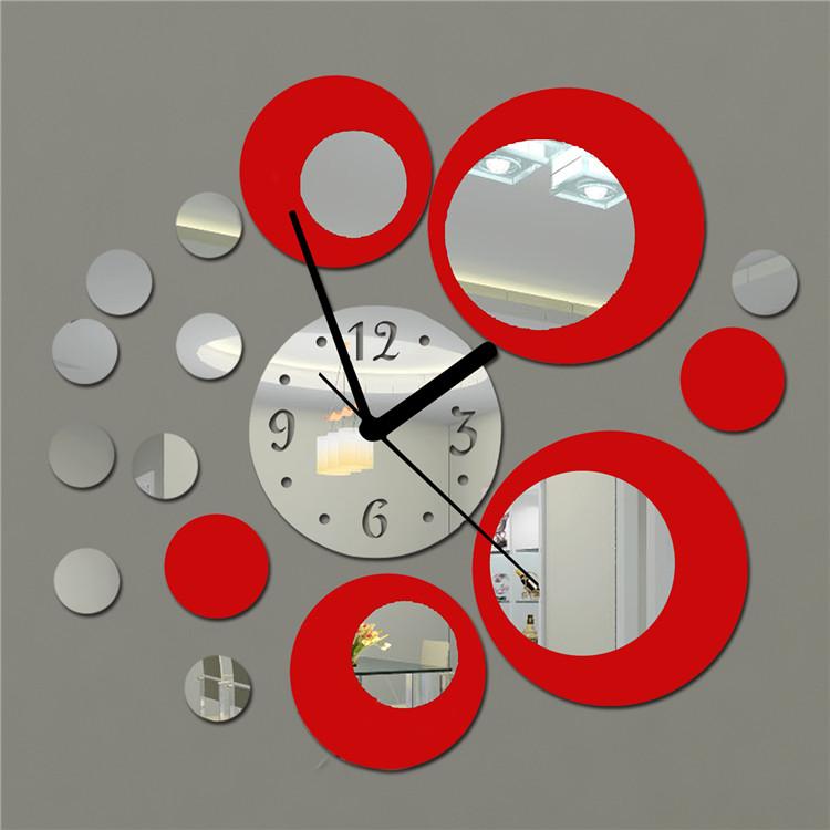 Acrylic Clock Design Mirror Effect Mural Wall Sticker Home Decor Craft Free Shipping Free Shipping(China (Mainland))