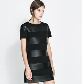 2016 Summer dress women Spring Fashion Short Sleeve O-Neck Solid Color Knitted Patchwork PU Leather Dress Pullover vestidos - Fair and honest store