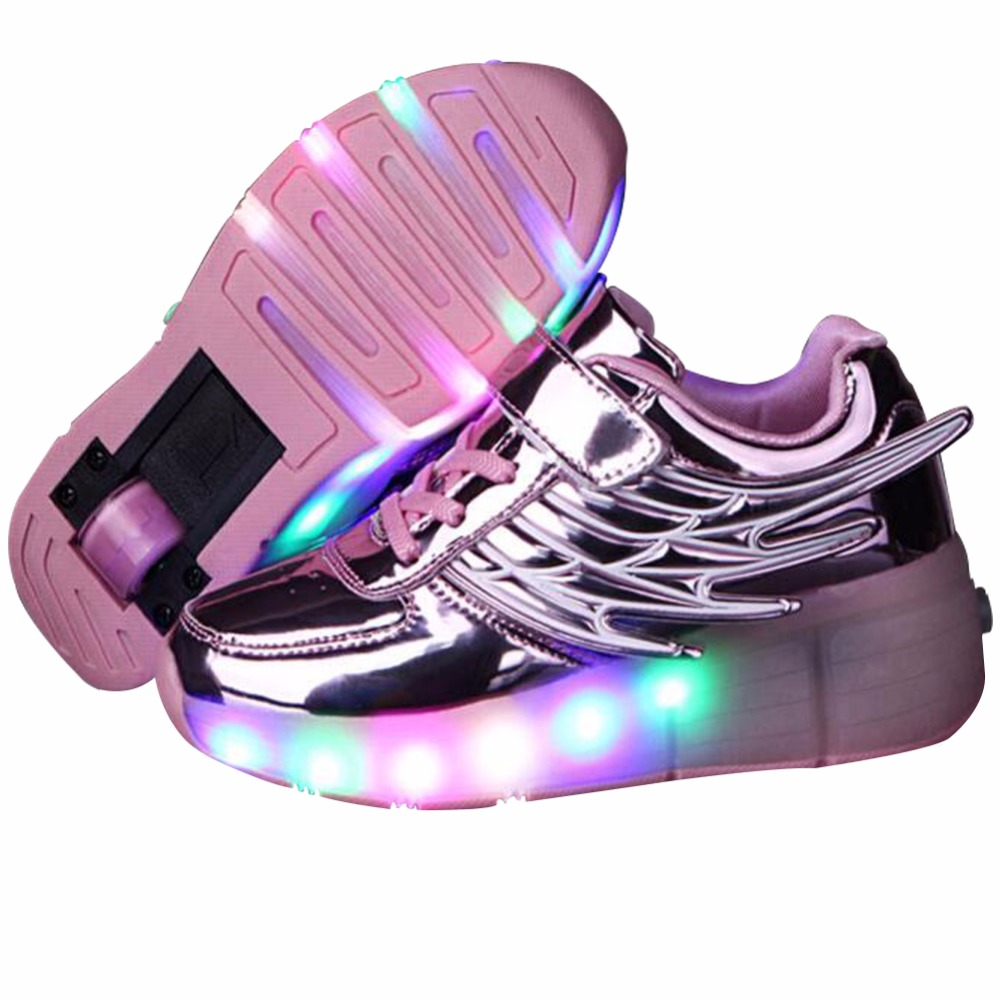 Roller shoes payless - Kids Sneakers With Wheels Girls Casual Led Shoes With Wings Nina Zapatillas Con Ruedas Y Luce Lighted Up Roller Skate Zapatos