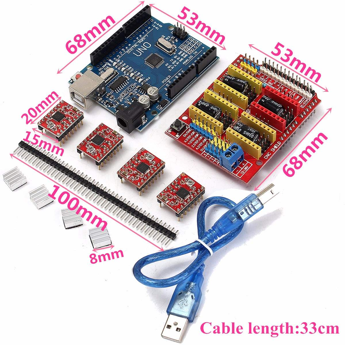 New Arrival V3.0 Engraver CNC Shield+Board+A4988 Stepper Motor Drivers For UNO R3 for Arduino New Electric Board(China (Mainland))