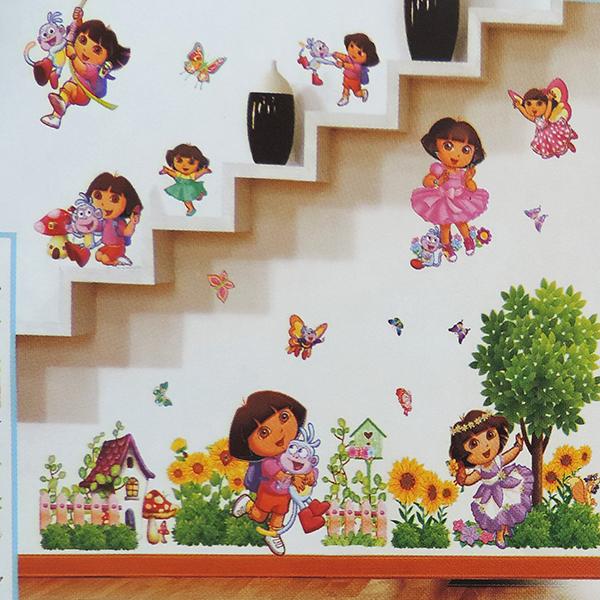 3D Cartoon Dora girl Wall Stickers Home Decoration Wall Decals for Kids children Rooms kindergarten livingroom Poster Wallpaper(China (Mainland))