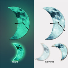 Glow in the Dark Moon Wall Clock DIY Removable Luminous Art Wall Decal Stickers for Bedroom Baby Kids Rooms(China (Mainland))