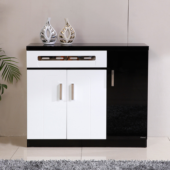 Free Shipping Shoe large capacity fashion modern paint glass black and white console partition hall cabinet 1050