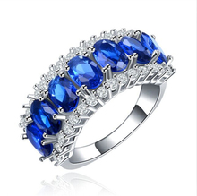 Amazing Pure Silver Sapphire Blue Brilliant Fresh Ring Size 7 8 For Bridal Women Free Shipping Wholesale(China (Mainland))