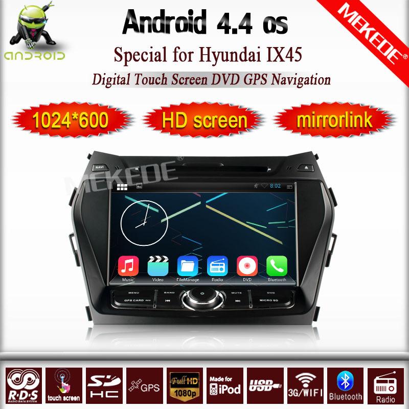 Android 4.4 1024*600 resolution Car audio video Player for Hyundai IX45 Santa FE 2013 Radio car dvd GPS Navigation BT wifi(China (Mainland))
