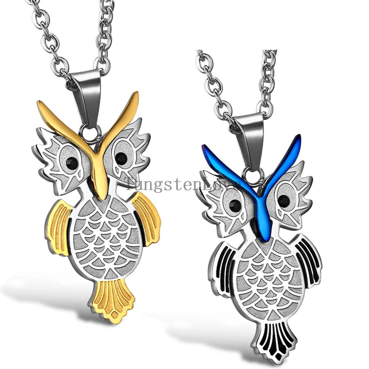 2015 New Necklaces jewelry 361L Stainless Steel necklaces Gold/Blue Animal Owl Pendant Necklace chain Men Jewelry(China (Mainland))
