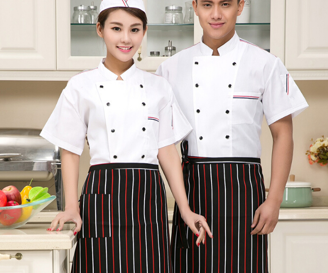 Summer Short-sleeved Chef Service Hotel Working Wear Restaurant Work Clothes Tooling Uniform Cook Suit Tops(China (Mainland))