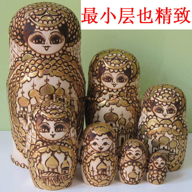 Pure manual are branded coloring Imported Russian dolls authentic 7 layers National toy Private toys(China (Mainland))