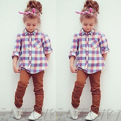 2015 Girls Checked Shirts Baby Kids Tops Long Sleeve Blouse Girls Clothing 2-7Y