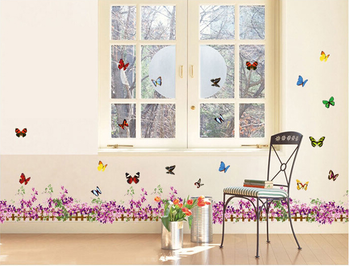 Flower and butterfly vinyl home room decor art quote wall decal stickers bedroom removable mural - Flower wall designs for a bedroom ...