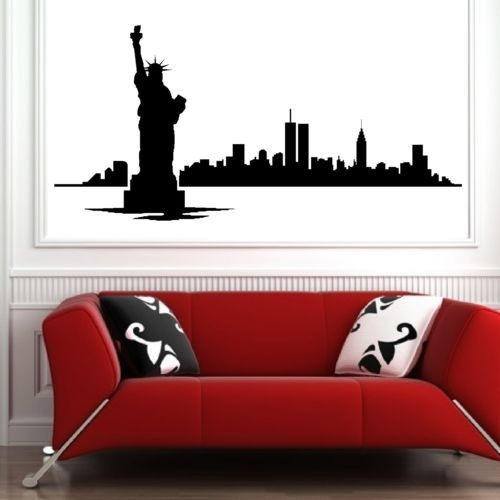 Fashion New York skyline vinly wall art room sticker decal bedroom modern city picture decor Living Room Deco Wallpaper Adesivo(China (Mainland))