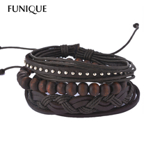 FUNIQUE Multilayer Bracelet Men Casual Fashion Braided Leather bracelets for women Wood Bead Bracelet Punk Rock Men Jewelry(China (Mainland))