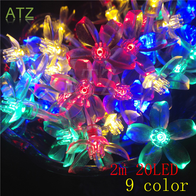 2M 20LED Cherry LED String Lights Battery Wedding Holiday and Parties Decoration Lightings LED Guirlande Lumineuse Flor Cerezo(China (Mainland))
