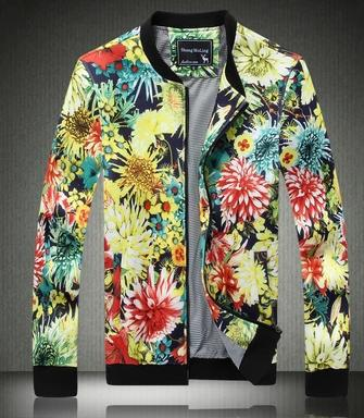 Stand collar new autumn thin Printed flower man casual Slim jacket coat for mens jackets and coats men clothes plus size L - 5XL