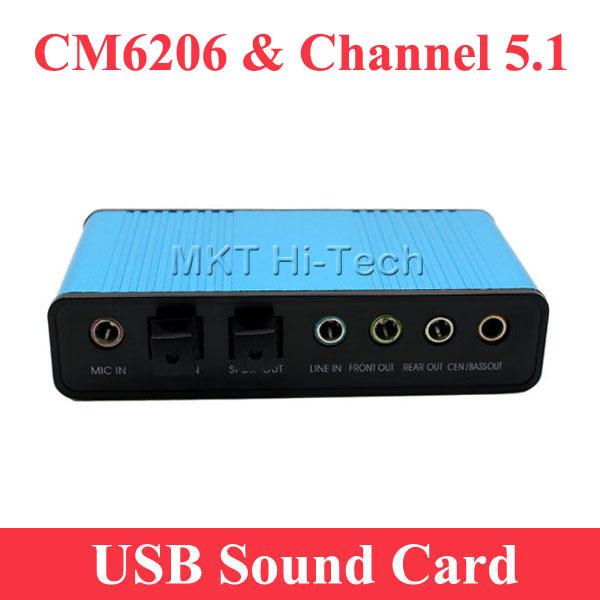 2015 Professional USB Sound Card 6 Channel 5.1 Optical External Audio Card Converter CM6206 Chipset for PC Laptop Desktop Tablet(China (Mainland))