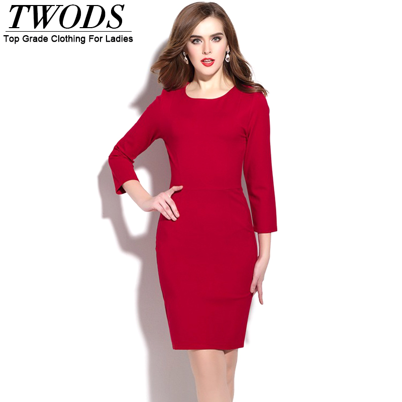 Twods Back Lace Women Bodycon Dress 3/4 Sleeve O-neck Slim Fit Black Red Ladies Party Dresses Good Quality ClothingОдежда и ак�е��уары<br><br><br>Aliexpress