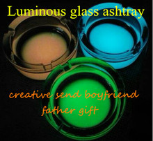 Free shipping time limited sales promotions glass luminous ashtray creative send boyfriend father gift Home Furnishing ornaments(China (Mainland))