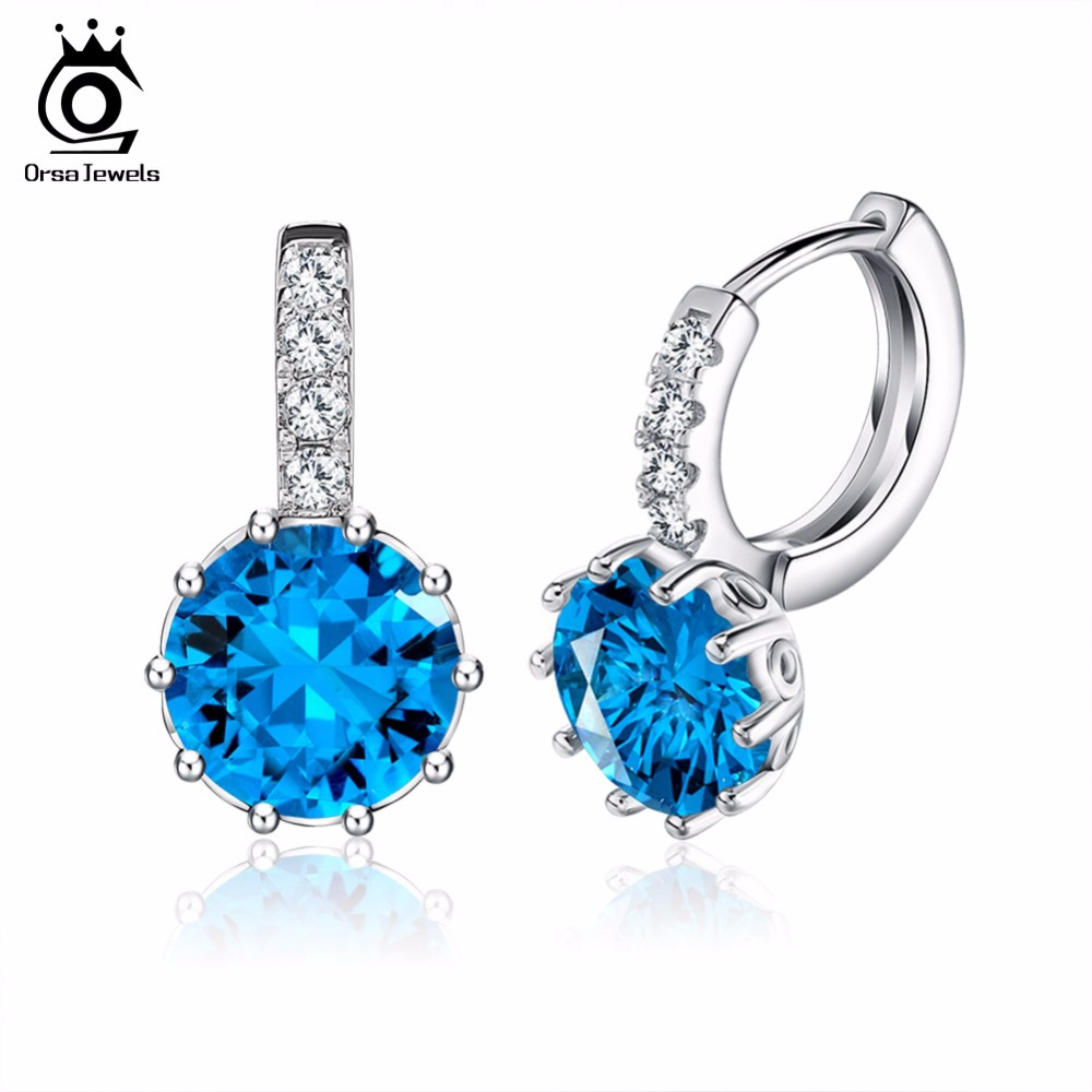 Luxury AAA Austrian Blue Austrian CZ Crystal Earring with Platinum Plated Party Earring for Ladies OE89(China (Mainland))