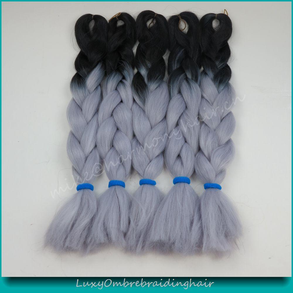 6Packs 24 100g Black&amp;Grey Ombre Two Tone Kanekalon Senegalese Twists Xpression Jumbo Box Braiding Synthetic Dreadlocks Hair<br><br>Aliexpress
