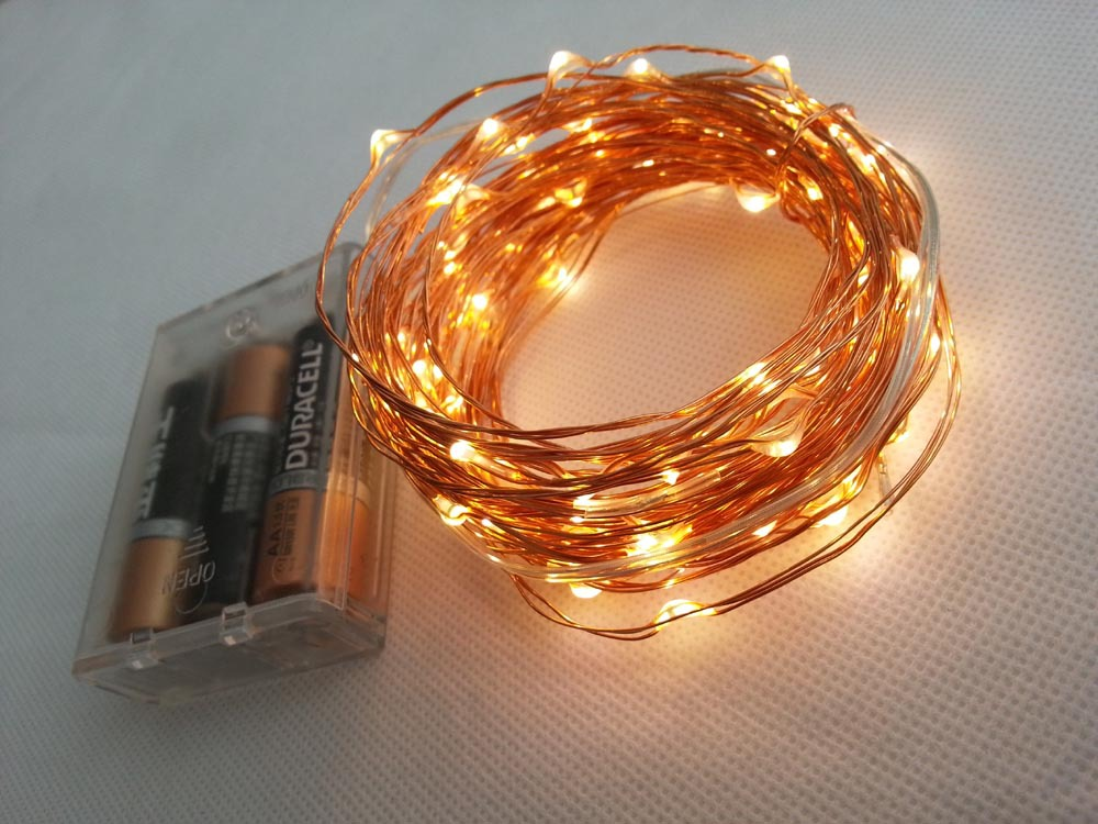 10M 100 led 3 AA Battery Powered Decorative LED Copper Wire Fairy String Lights lamp for Christmas Holiday Wedding and Parties(China (Mainland))