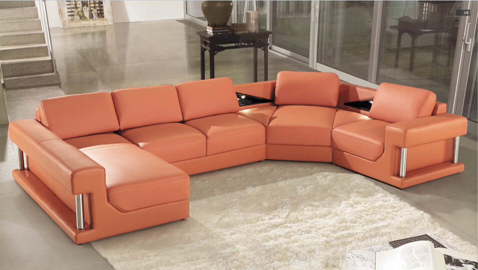 Modern leather corner sofas with genuine leather u shape included big Ottoman(China (Mainland))