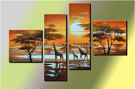 Wall Art The Giraffe Sun Abstract Landscape Group Oil Painting Wooden-frame Modern Design Unique Artwork 4pcs/set QROP097(China (Mainland))
