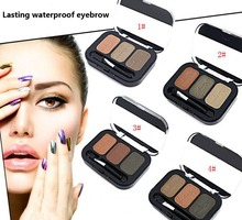 2016 Brand New Waterproof Eyebrow Powder For Women, Eyeshadow Eye Brow With Brush 3 Color Eyebrow Makeup Palette Make Up Set Kit(China (Mainland))