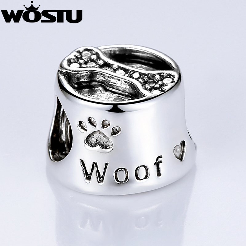 High Quality Silver Woof Paw Prints Bone Charm Beads Fit Original Pandora Bracelet Bangle For Women DIY Jewelry Free Shipping(China (Mainland))