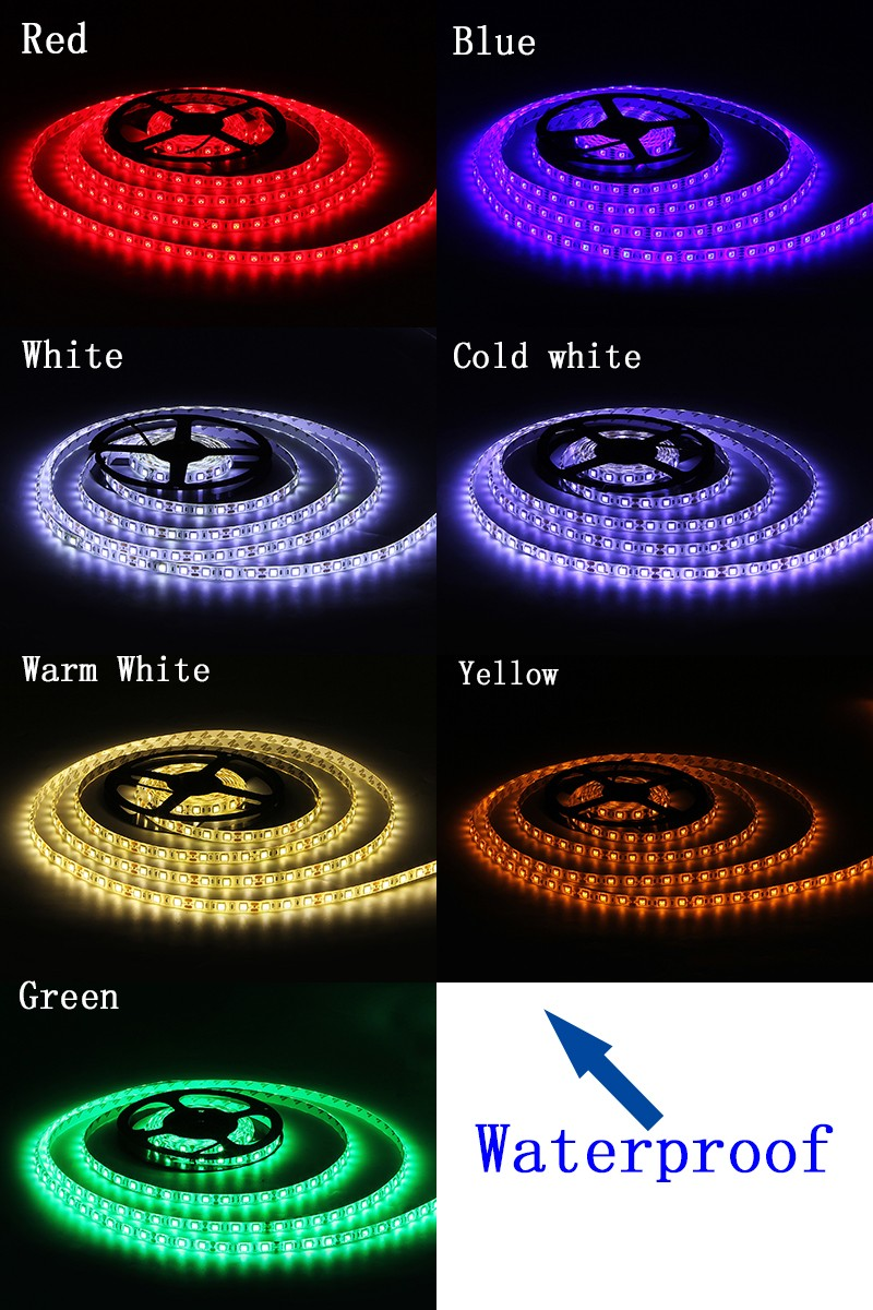 SMD 5050 LED Strip 5M 60led/m DC12V Flexible Ribbon Diode Tape RGB White Warm White Red Green Blue Yellow Light